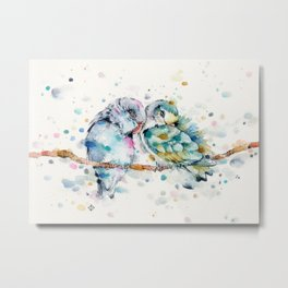 Mr & Mrs Snugglepots [pacific parrotlets] Metal Print