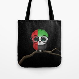 Baby Owl with Glasses and UAE Flag Tote Bag