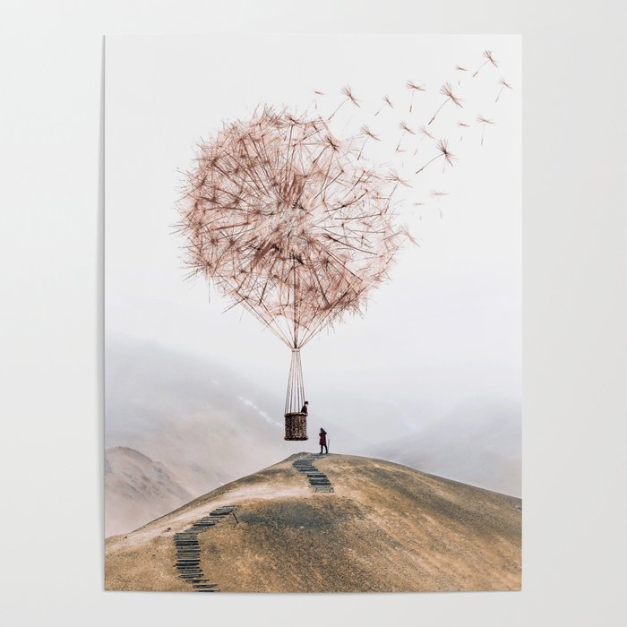 Flying Dandelion Poster