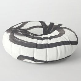 Mid Century Modern Minimalist Abstract Art Brush Strokes Black & White Ink Art Spiral Circles Floor Pillow