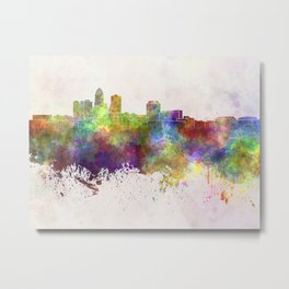 Des Moines skyline in watercolor background Metal Print