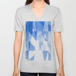 Abstract Blue Geometric Mountains Design Unisex V-Neck