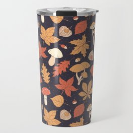 Autumn Pattern on Dark Blue Travel Mug