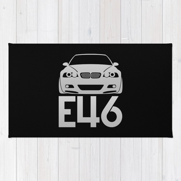 Bmw E46 M3 Silver Rug By Vehicle Society6