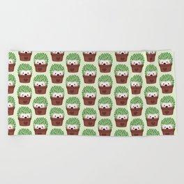 Hedgehogs disguised as cactuses Beach Towel