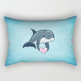 Love Ya! ~ Baby Dolphin by Amber Marine ~ Blue ~ (Copyright 2014) Rectangular Pillow
