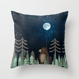 the moon balloon Throw Pillow