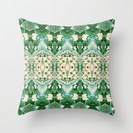 Boujee Boho Green Lace Geometric Throw Pillow