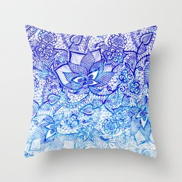 Modern china blue ombre watercolor floral lace hand drawn illustration Throw Pillow