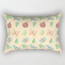 Cute Little Bugs & Leaves Pattern Rectangular Pillow