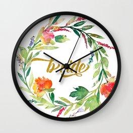 Bride Modern Typography Floral Wreath Wall Clock