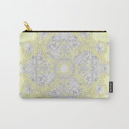 Sunny Doodle Mandala in Yellow & Grey Carry-All Pouch