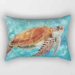Turtle Swimming Rectangular Pillow