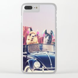Llamas on the road Clear iPhone Case