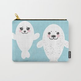 set Funny white fur seal pups, cute winking seals with pink cheeks and big eyes. Kawaii animal Carry-All Pouch