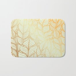 Bohemian Gold Feathers Illustration With White Shimmer Bath Mat