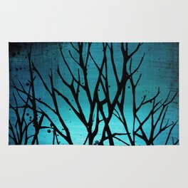 Teal Branch Trees Rug
