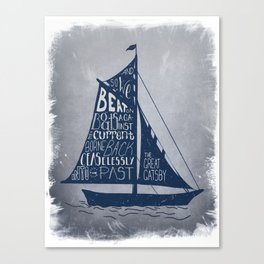 Great Gatsby Hand-Lettered Boat Art Canvas Print