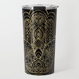 Lotus Gold Hamsa Hand Travel Mug