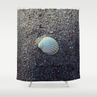 seashell Shower Curtains featuring Seashell by WonderfulDreamPicture
