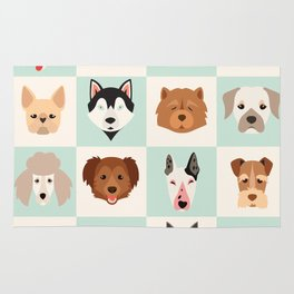 Big set of cute dogs icons, vector flat illustrations. Popular dogs breeds, pattern, card, game grap Rug