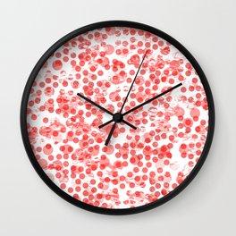 Cherry Polka Dots Distressed Wall Clock