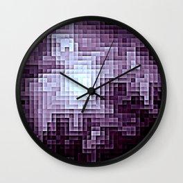Nebula Pixels Dark Plum Purple Wall Clock
