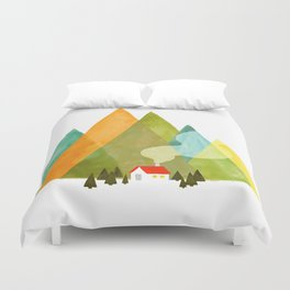 House at the foot of the mountains Duvet Cover