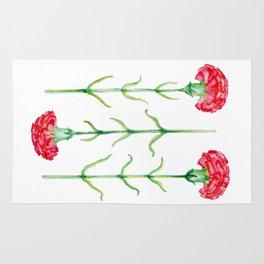 Carnations flowers watercolor art Rug