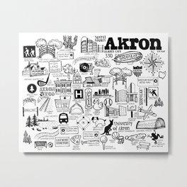 Akron Ohio Map Metal Print