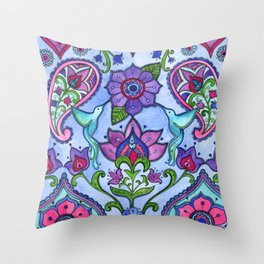Hummingbird Paisley Throw Pillow