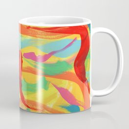 HAVE FUN Colorful Abstract Painting Pink Orange Red Yellow Modern Art Coffee Mug