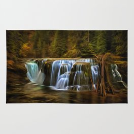 Lower Lewis River Falls in Autumn Rug