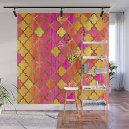 Moroccan Tile Pattern In Pink, Red, Orange, And Gold Wall Mural