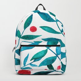 Watercolor berries and branches - turquoise and red Backpack