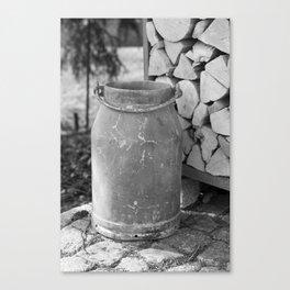 Old milk jug Canvas Print