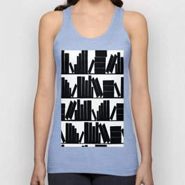 Library Book Shelves, black and white Unisex Tank Top