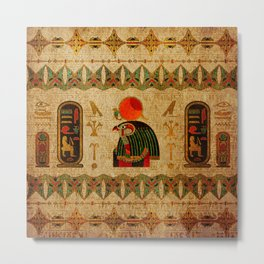 Egyptian Horus Ornament on Papyrus Metal Print
