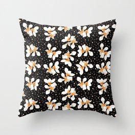 White And Orange Flowers On Black Throw Pillow