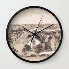 Vintage Pictorial Map of Salem MA (1854) Wall Clock