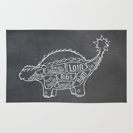 Ankylosaurus Dinosaur (A.K.A. Armored Lizard) Butcher Meat Diagram Rug