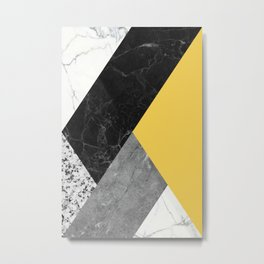 Black and White Marbles and Pantone Primrose Yellow Color Metal Print