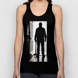 Bad Man at door in silhouette with axe Unisex Tank Top