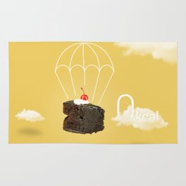 Isolated Chocolate cherry cake with parachute on yellow sky background Rug