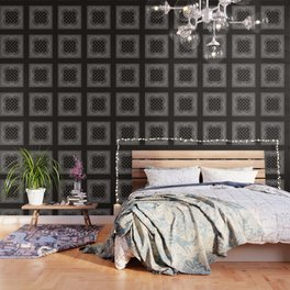 Paisley - Bandana - Black -  Southwestern Wallpaper
