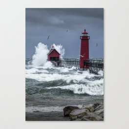 November Storm on Lake Michigan by the Grand Haven Lighthouse with Flying Gulls No.240 Fine Art Ligh Canvas Print