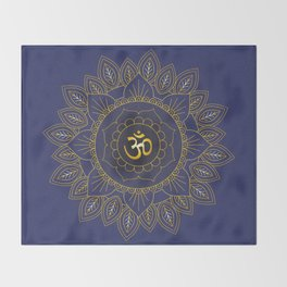 Om Symbol and Mandala in Spiritual Gold Purple Blue Violet Throw Blanket