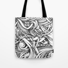 Escher Like Abstract Hand Drawn Graphite Gray Depth Tote Bag