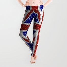 Glitters Shiny Sparkle Union Jack Flag Leggings