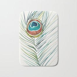 Peacock Tail Feather – Watercolor Bath Mat